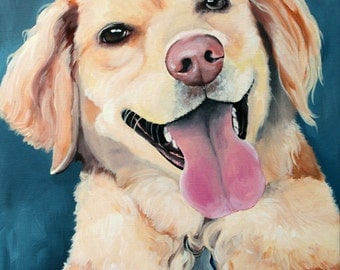 Custom dog portrait, hand painted pet portrait on a 10x14 canvas, labrador painting, gift for pet lovers,