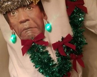 Ugly Christmas Sweaters Bill COSBY Light Up Funny Custom Photo Jumper  Size S M L XL XL 3XL 5XL plus size