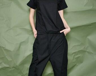 Black Cotton Blouse with Detail - Women Top - Black Blouse - Women Blouse - White Top - Free Shipping
