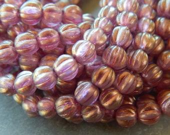5mm Halo Cherub - Czech Pressed Fluted Melon Glass Beads, 25 PC (INCM662)