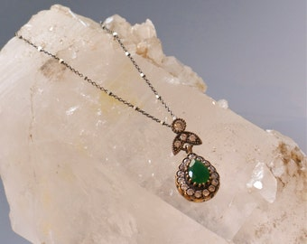 Emerald -Green- Vintage Style Pendant/Necklace with Swarovski Crystal