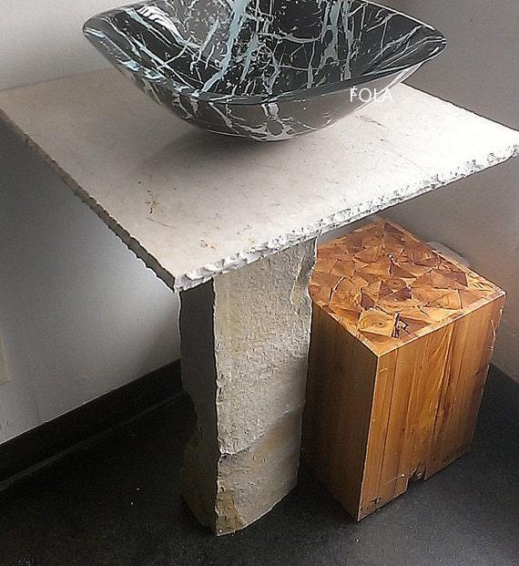 Wide Base Pedestal Sink : ... Pedestal Vanity with Countertop and glass Stone look Vessel Sink SET