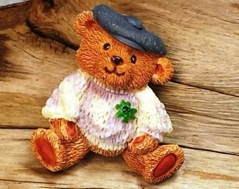 Vintage Ceramic Teddy Bear Brooch