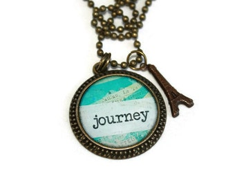 Journey Antique Brass Round Resin Pendant with Eiffel Tower Charm, Travel Jewelry