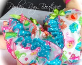Beautiful Parley Ray Circus Elephants Rainbow Teal Polkadots Birthday Ruffled Baby Bloomers/ Diaper Cover /Photo Prop Baby's First Birthday