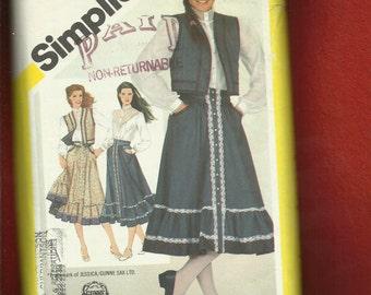 Vintage 1980's Simplicity 5191 Gunne Sax Western Skirt Vest & Blouse Size 14
