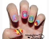 Bright spring nail wraps. Pink owl real nail polish strips.
