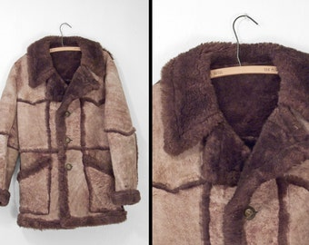 Genuine SHEARLING Jacket 1970s Lawrence Cocoa Brown Unisex S M