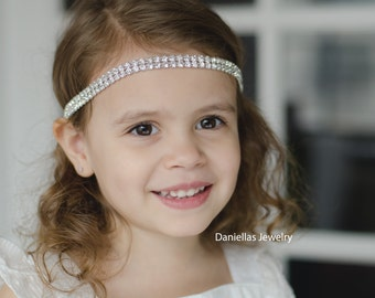 Wedding Hair Accessory, Beaded headband, Ribbon Headband,rhinestone headband/flower girl