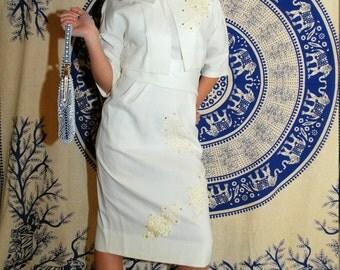 Of Course I Do 1960s Vintage Ivory White Sleeveless Mod Wiggle Shift Bridal Wedding Dress With Matching Jacket Sz Small / 10