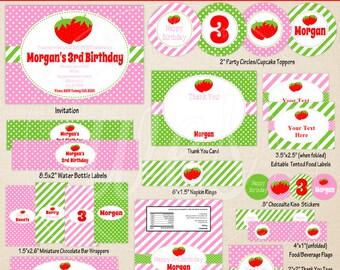 Strawberry Printables - Strawberry Birthday - Printable Party Set - Strawberry Party Kit - DIY Berry Sweet Birthday Printables