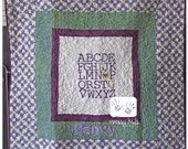 ABC Love Embroidered baby quilt for boys and girls FREE personalization by Messy Kids Designs