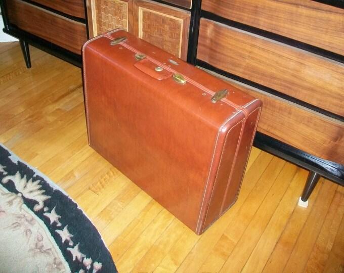 Vintage Samsonite Leather Luggage Suitcase Caramel Brown