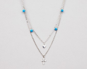 Layered Necklace , Turquoise Layered Necklace, Swarovski Crystal Cross, Layered Necklace Set