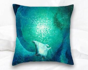 Manta Ray Art | Nautical Home Decor | Beach Pillow Home Decor | Nautical Throw Pillow | Beach Decor | Ocean Pillow | Sea Life Pillow | Surf