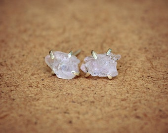 Raw Rose Quartz Stud Earrings Sterling Silver Pink Rough Stone Post Crystal Earrings