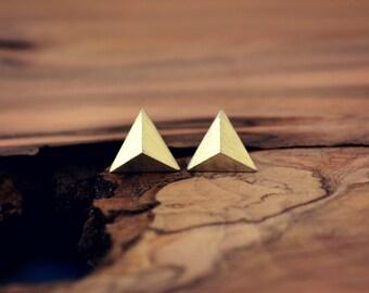 Mens Pyramid Stud Earrings Sterling Silver,Triangle Earring Faceted Studs, Silver Pyramid Earrings, Mens Jewelry,Triangle Pyramid Jewelry