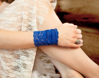 Blue Lace Cuff Bracelet, Wide Lace Accessory, Royal Arm Band, Boho Long Cuffs, Stretch Lacey Covers, Wristband Tattoo Cover Ups Women's Gift