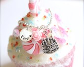 Sterling Silver Personalized Hand Stamped Cute Birthday Cake Silver Charm Girls Name Necklace, Birthday Gift Keepsake - FREE Gift Packaging