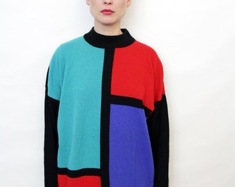 Vintage 80s Colorblock Oversize Slouchy Sweater