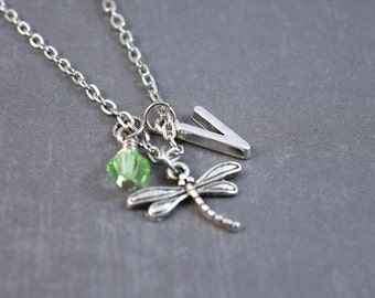 Silver Dragonfly Necklace - Bug Jewelry - Dragonfly Jewelry - Gardener Gift - Personalized Necklace - Nature Necklace - Spring Necklace