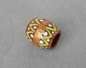Dreadlock Bead Gold Metallic and Green Tribal Hair Bead - Wood Hand Painted Dread Bead - 10mm hole