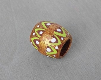 Dreadlock Bead Gold Metallic and Green Tribal Hair Bead - Wood Hand Painted Dread Bead - 10mm hole