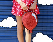 Red Glitter Balloon Clutch Handbag