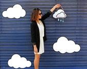 Pearl White Glitter Rain Cloud Clutch Handbag