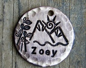 Hand Stamped Dog Tag / Cat Tag / Mountain Air Pet Tag / Distressed Pet Tag - Pet ID Tag