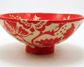 New Price! SECONDS Quality Sale! Fabulous FLORAL BOWL Red & White Design Hand Built Sgraffito Flowers Pottery