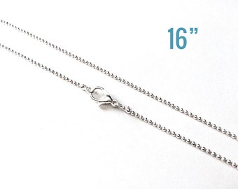 """100 Necklaces 1.5mm Silver Smooth Ball Chains - WHOLESALE - 16"""" - Ships IMMEDIATELY from California - CH430d"""