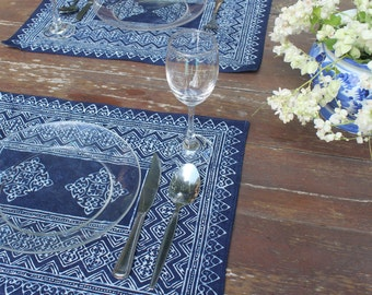 Placemats In Hmong Indigo Batik Cotton- 4 Different Patterns, Sold Individually, Blue Naturally Dyed Free Shipping