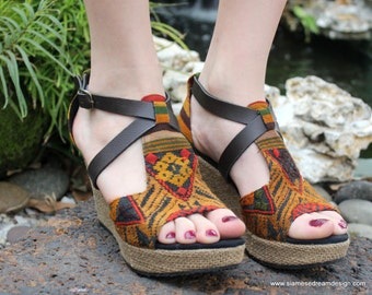 Laos Embroidered Vegan Womens Sandals Faux Leather Straps Wedge Heel- Leighanna