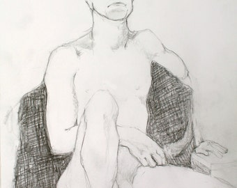 Male Nude Figure Drawing, Live Model, Life Drawing in Pencil, Works on Paper 11x14