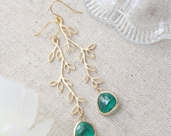 Leaf Branch Earrings - 8 Colors, Wedding Jewelry, Bridesmaids Gifts, Whimsical, Everyday Jewelry