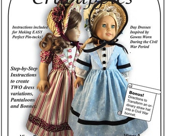 """Stand By Me - Civil War Doll Dress PDF Pattern for American Girl and other 18"""" dolls"""