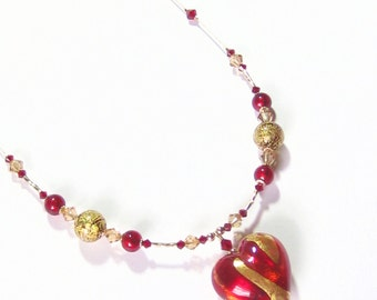Red Gold Heart Pendant Necklace, Venetian Italian Jewelry, Gifts For Her, Murano Glass Jewelry, Lampwork Glass Heart Necklace