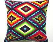 Mexican cushion cover mexican pillow aztec cushion square aztec pillow neon cushion geometric tribal ethnic throw pillow decorative pillows