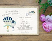 Hot Air Balloon Up Up and Away Special Delivery Baby Shower Invitation 5x7 custom card balloons vintage postcard car stamp navy aqua gold