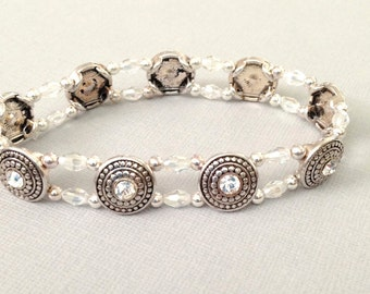 Silver Stretch Bracelet,Crystal,Double Strand,Layering,Wedding