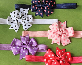 20% OFF SALE on Spring Polka Dot Baby Bow Headband Set - 5 Pack of Grosgrain Ribbon Baby Bows Available on Bands or Clips