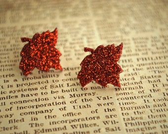 Leaf Studs -- Orange Leaf Earrings, Orange Leaf Studs, Glittery Leaves