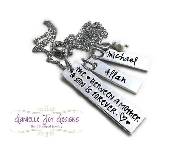 Mother and son is forever quot mother son necklace hand stamped jewelry