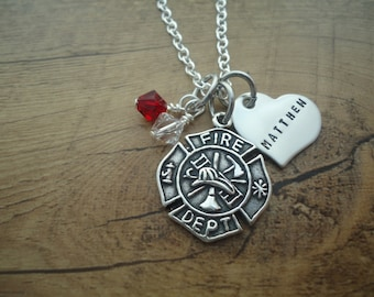 Personalized Love Fireman firefighter Necklace with Personalized heart - Fireman Maltese Cross - Gift for her - I love my Firefighter