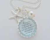 FLOWER GIRL Beach Jewelry Junior Bridesmaid Gift Children's Jewelry, Personalized Blue Bridal Necklace, Bridal Accessories Starfish Charm