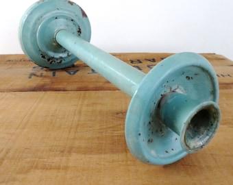 Vintage Candleholder Aqua Metal old Distressed Candlestick Holder