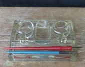 Vintage Glass Ink Well with Pen Rests - Large