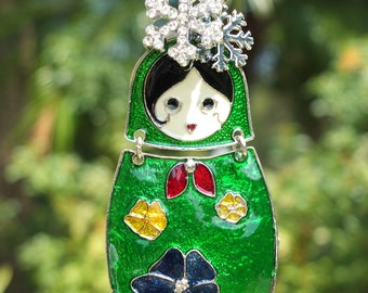 MATRYOSHKA DOLL Ornament Tree Jewelry Christmas Ornament Russian Nesting Doll GREEN