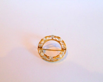 Antique Pin Mine Cut Diamond and Pearl 14k Brooch Women's Estate Jewelry